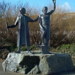The statue of Flamank and An Gof at the edge of St Keverne