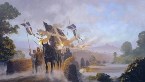 Donald MacLeod's painting Crossing the Tamar The Cornish Rebellion