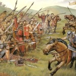[Artists depiction of a battle scene from northern Britain in the 700s]