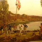 United Kingdom of Great Britain union flag raising by Arthur Philip of the First Fleet at Port Jackson, January 1788 claiming the east coast of Australia