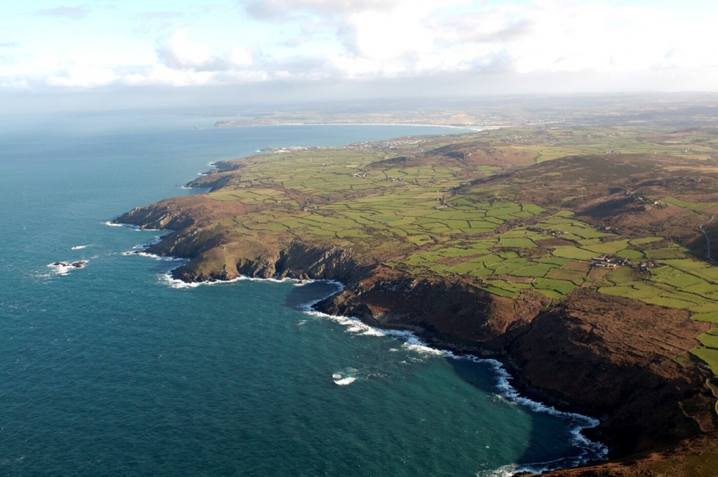 North Penwith coast looking east showing granite cliffs.